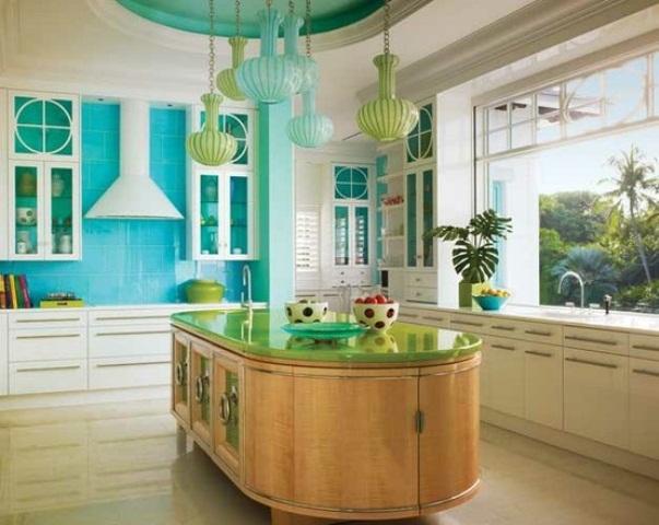 Бирюзово-белый натяжной потолок на кухне