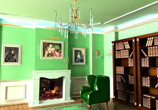 Зеленый потолок в Кабинете