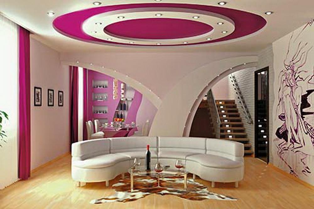 Многоуровневый яркий потолок