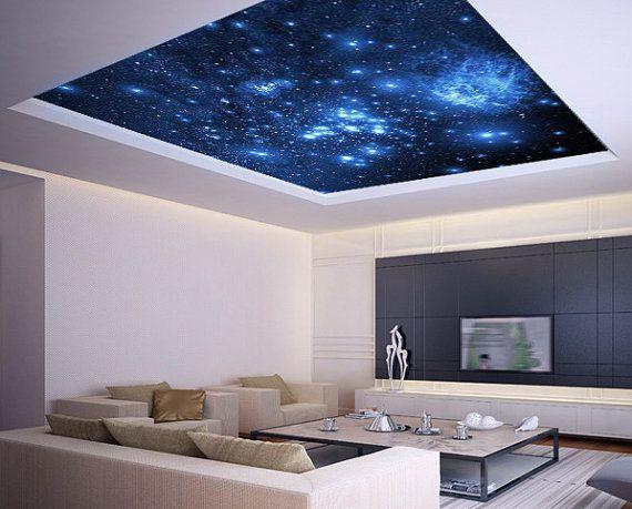 Синий натяжной потолок звездное небо