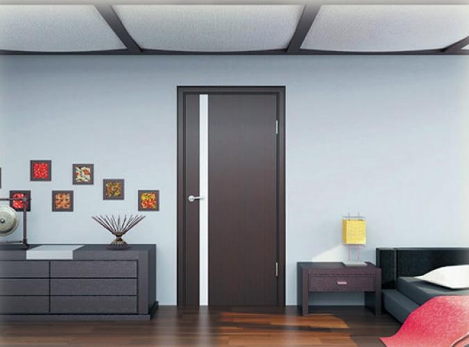 Двери цвета венге в спальне